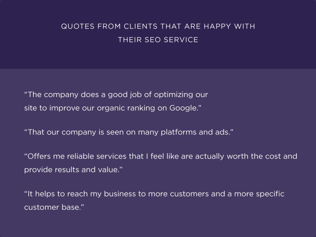 Цитаты из клиентов, которые довольны SEO услугами