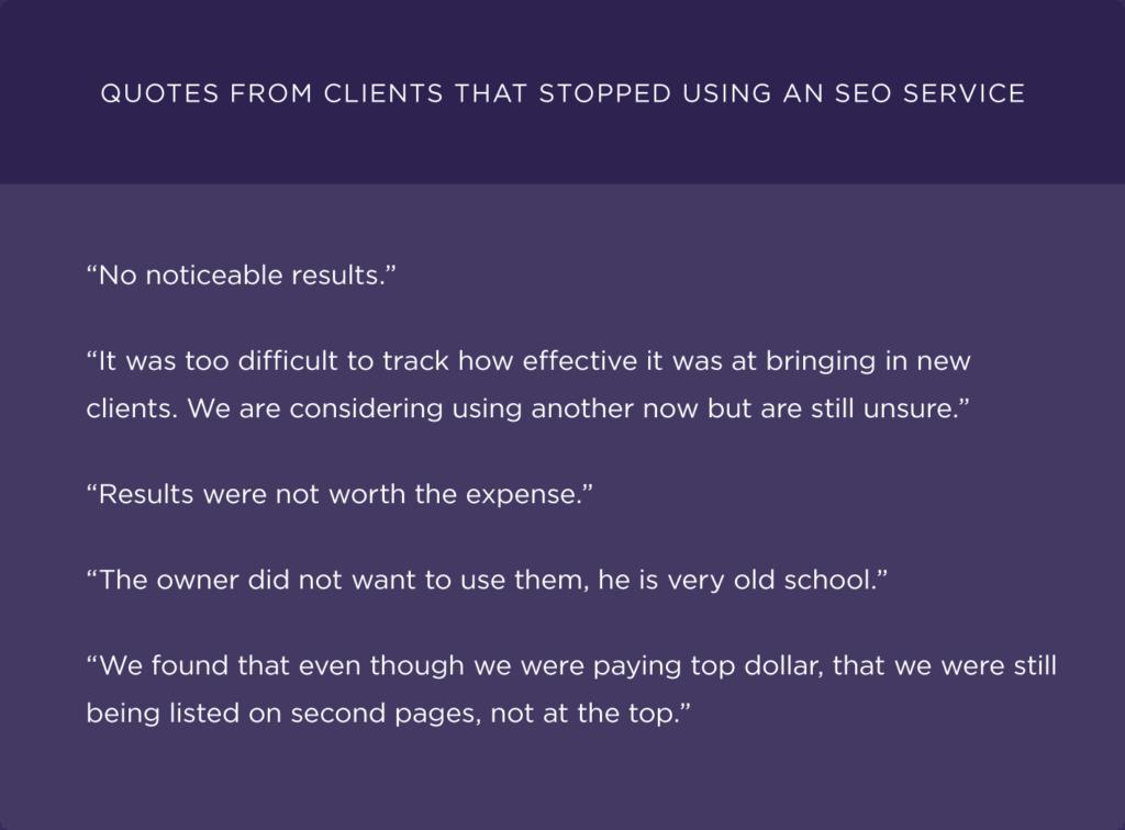 Цитаты из клиентов, которые прекратили использовать услугу