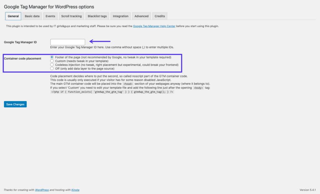 добавление идентификатора контейнера в плагин  контейнера google тэг менеджер
