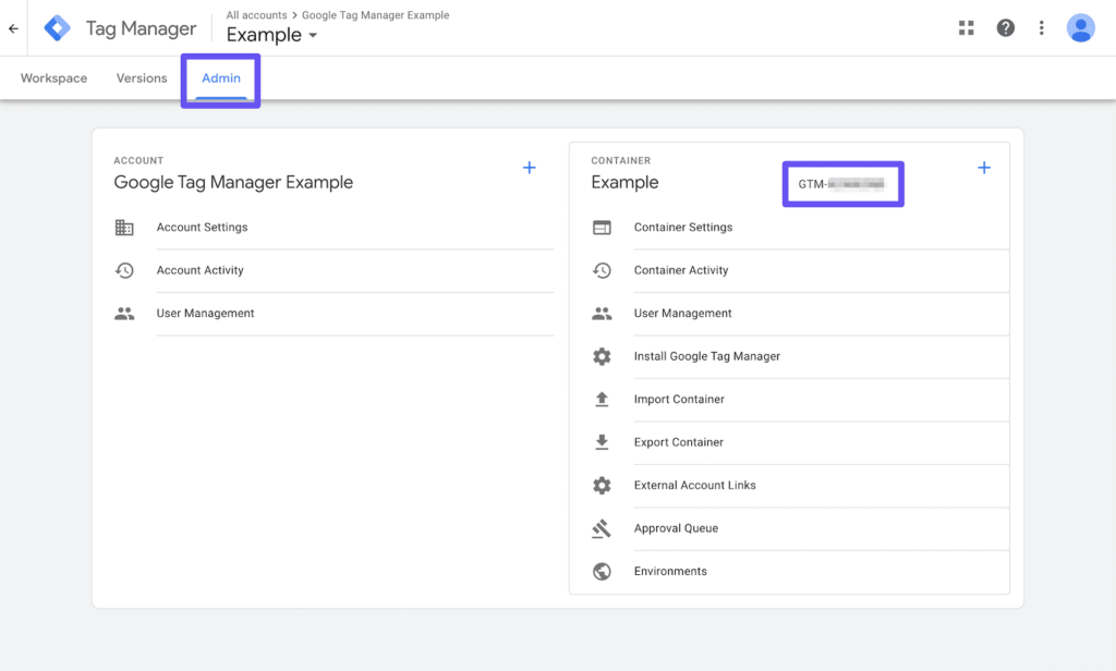 поиск идентификатора контейнера в google тэг менеджер
