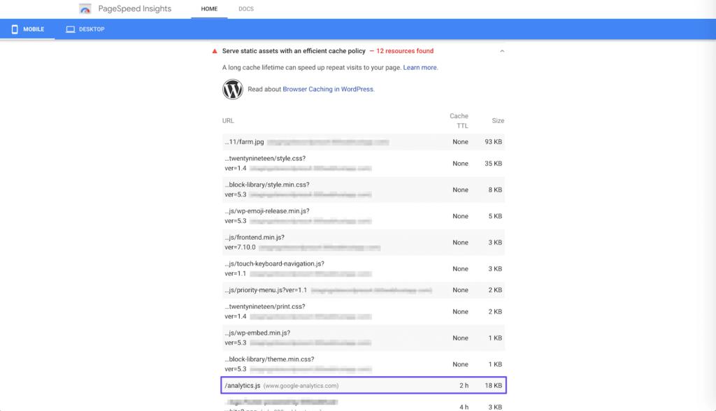 пример предупреждения google analytics