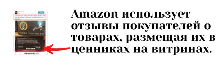 Amazon использует отзывы покупателей о товарах размещая их в ценниках на витринах