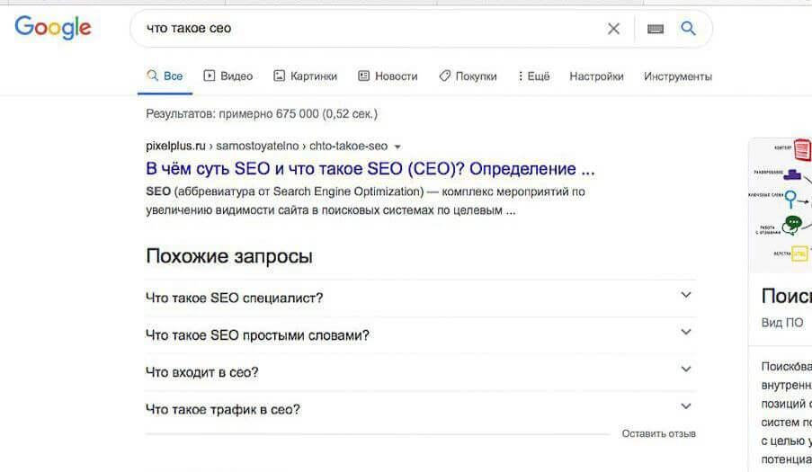раздел похожие вопросы на странице поисковой выдачи