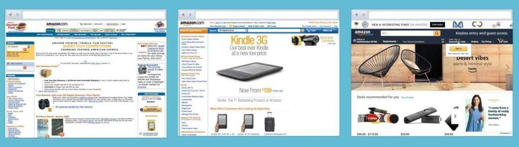 Амазон постепенно развивает дизайн сайта