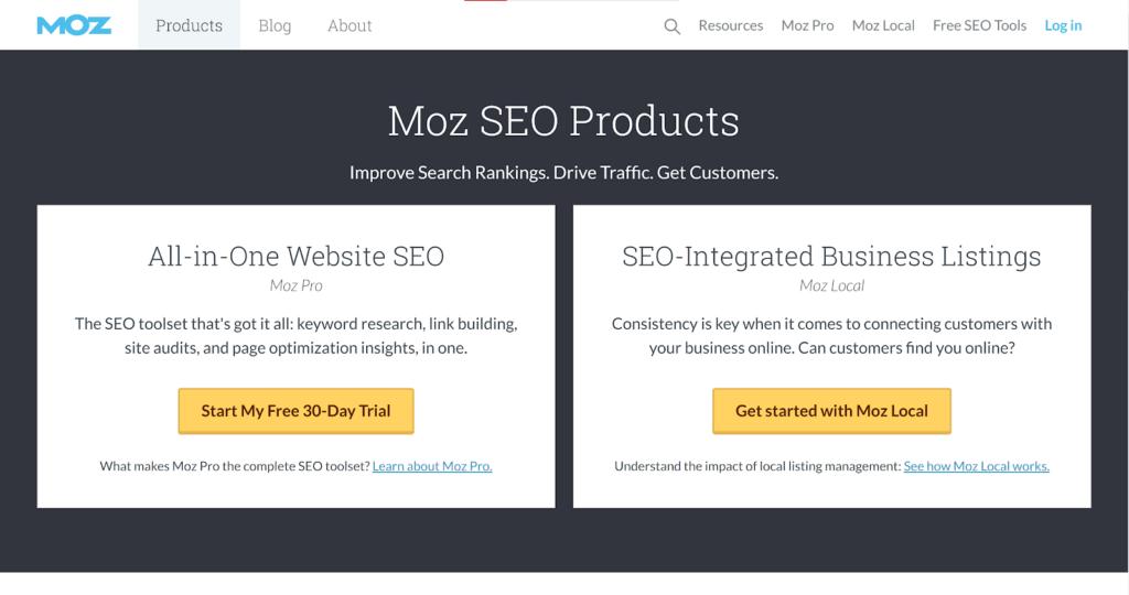 целевая страница Moz с одним предложением для клиента